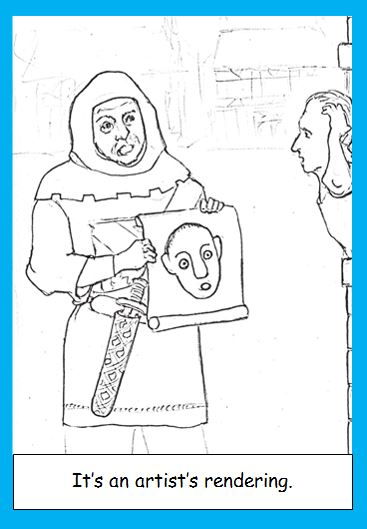 Cartoon of medieval constable looking for perpetrator