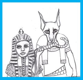 Female pharoah and god Anubis play Cartoon House hosts
