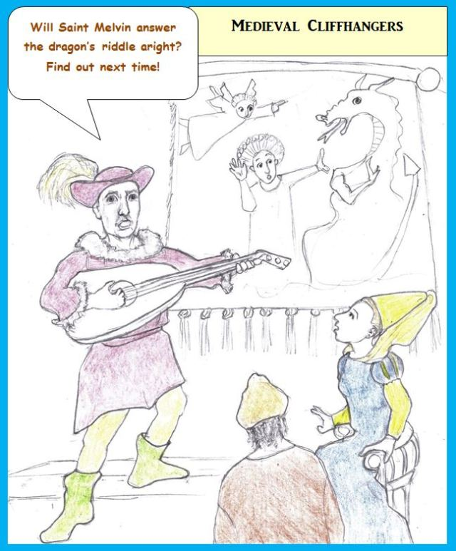 Cartoon of troubadour entertaining at court