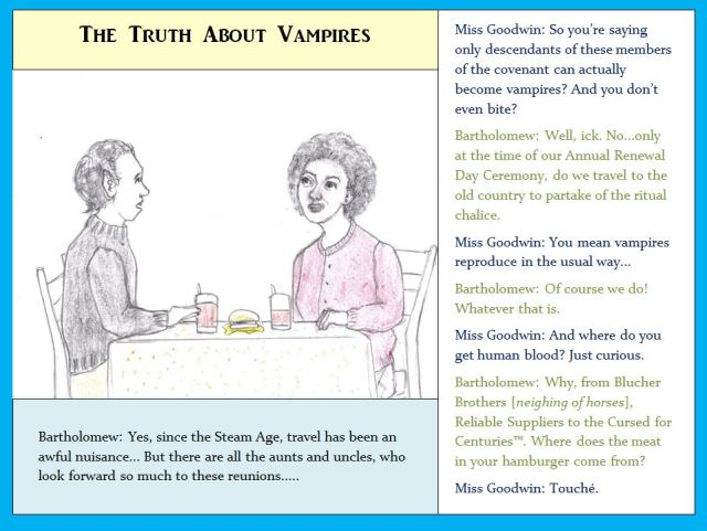 Cartoon of Vampire and friend eating lunch