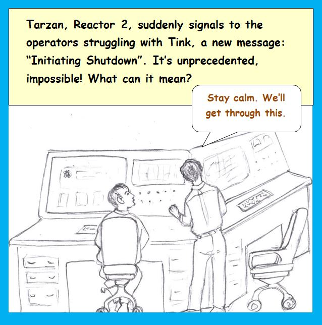 Cartoon of nuclear workers at console
