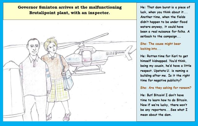Cartoon of two people leaving helicopter