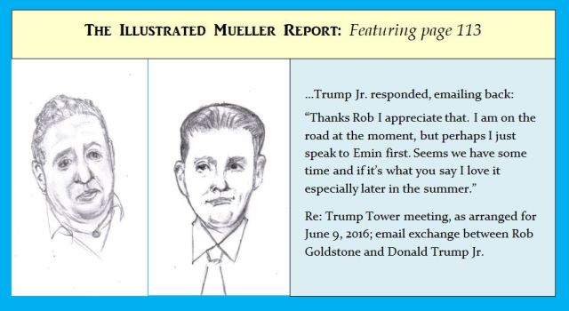 Cartoon of figures from Mueller Report arranging meeting