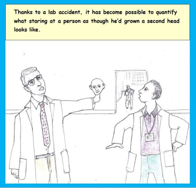 Cartoon of man in laboratory with two heads
