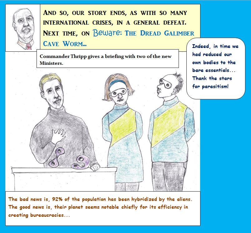 Cartoon of people taken over by aliens