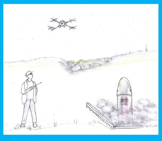 Cartoon of drone operator triggering missile launch