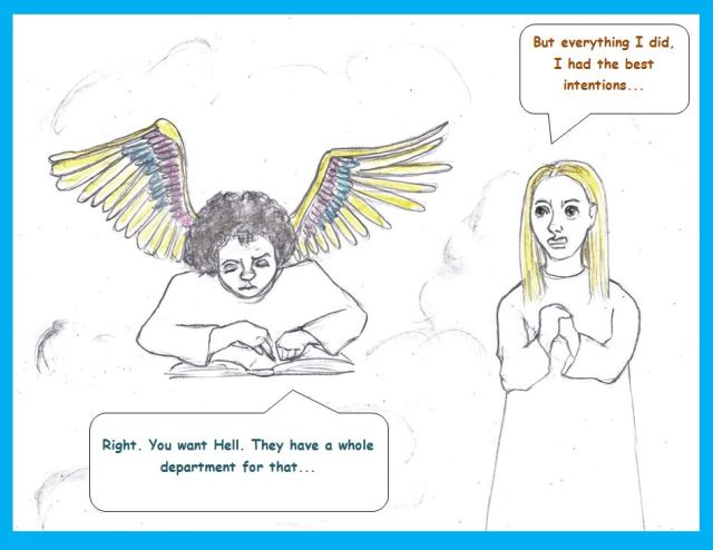 Cartoon of recording angel