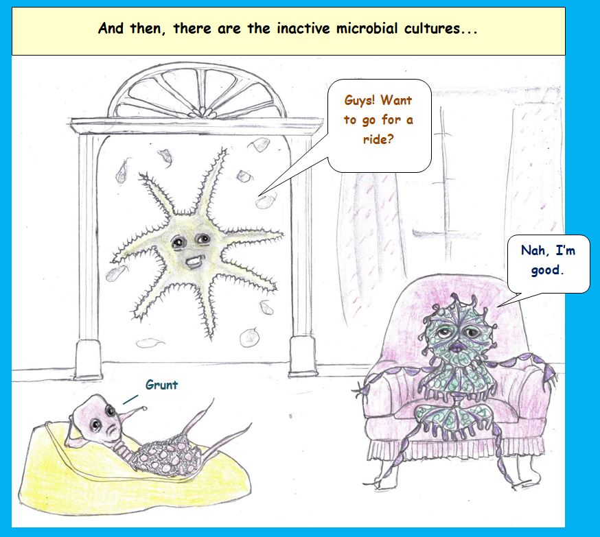 Cartoon of lazy microbes