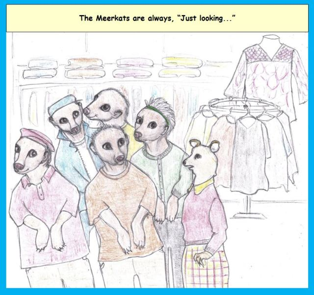 Cartoon of shopping meerkats