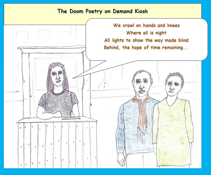 Cartoon of poetry on demand kiosk