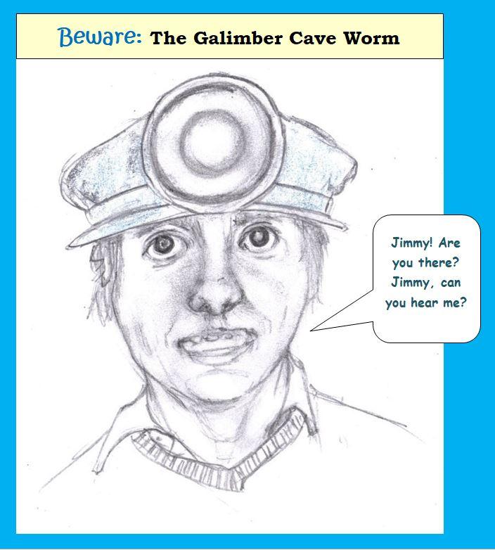 Cartoon of man in miner's cap calling friend