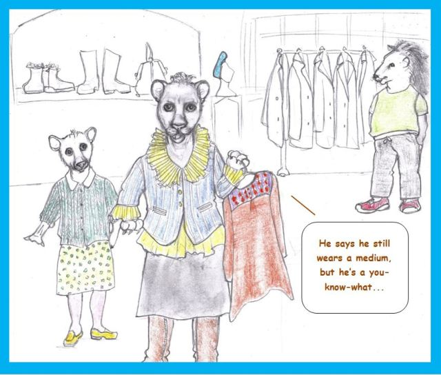 Cartoon of lions shopping for clothes