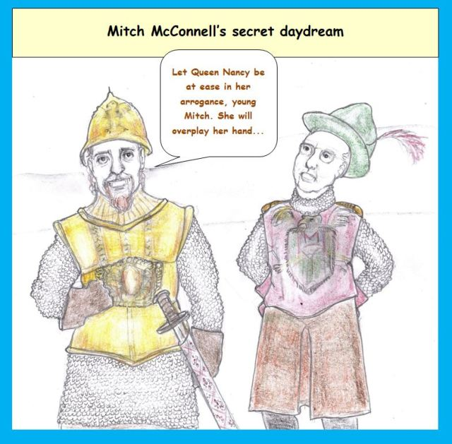 Cartoon of king figure and Mitch McConnell