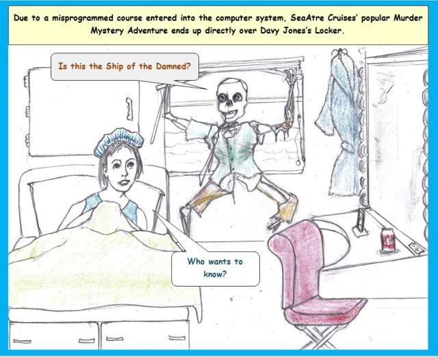 Cartoon of ship's passenger and skeletal man