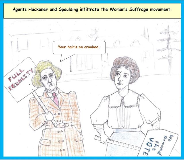 Cartoon of undercover men at suffrage rally