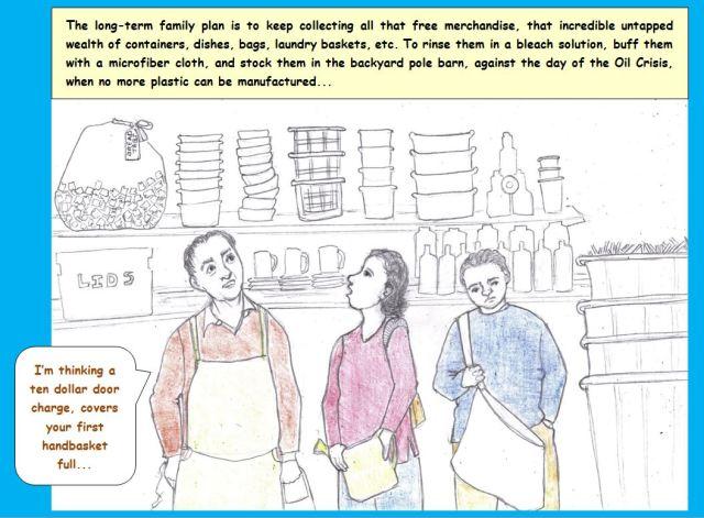 Cartoon of family saving plastic