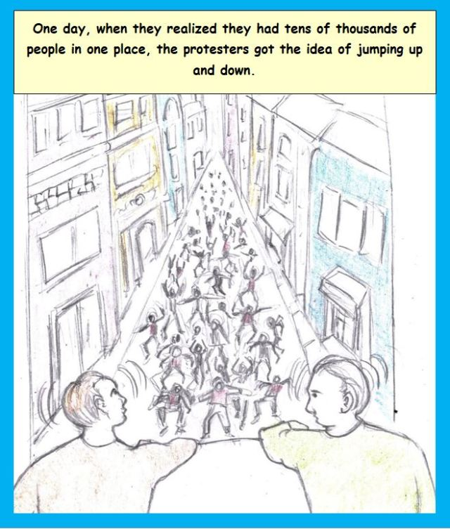 Cartoon of protesters in street