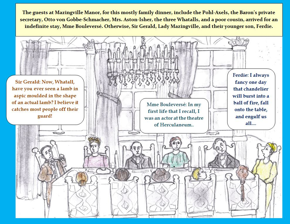 Cartoon of dinner at manor house