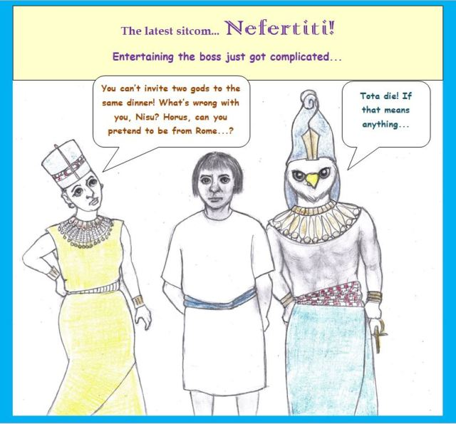 Cartoon of Nefertiti, servant, and Horus