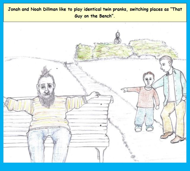 Cartoon of man sitting on park bench