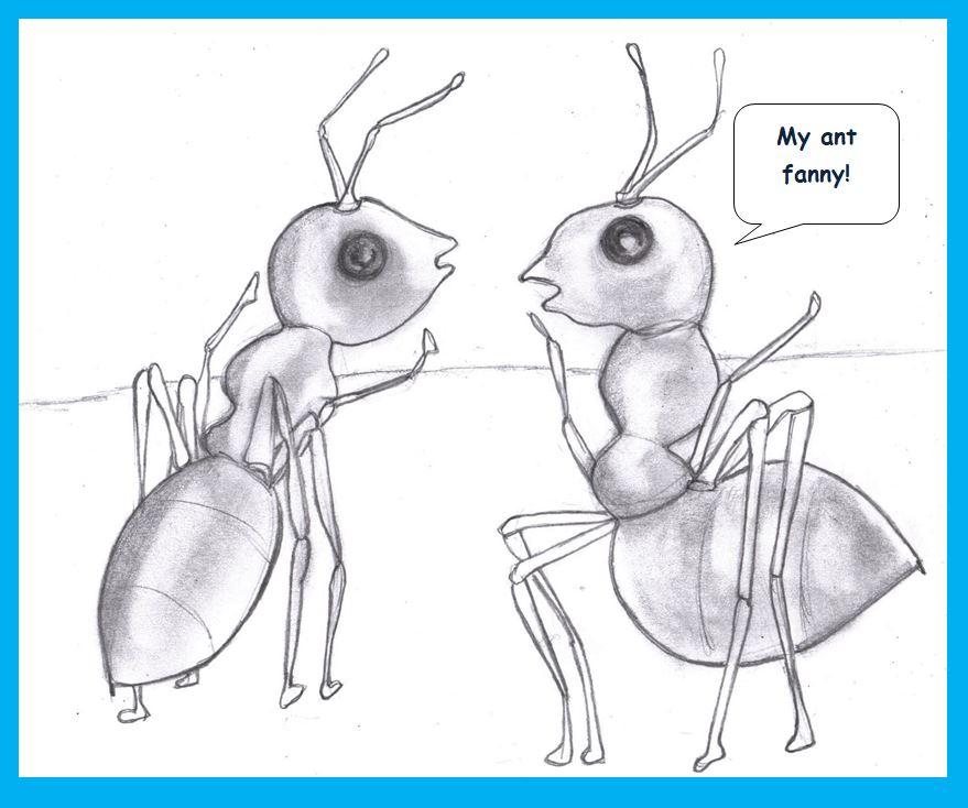 Cartoon of ants conversing