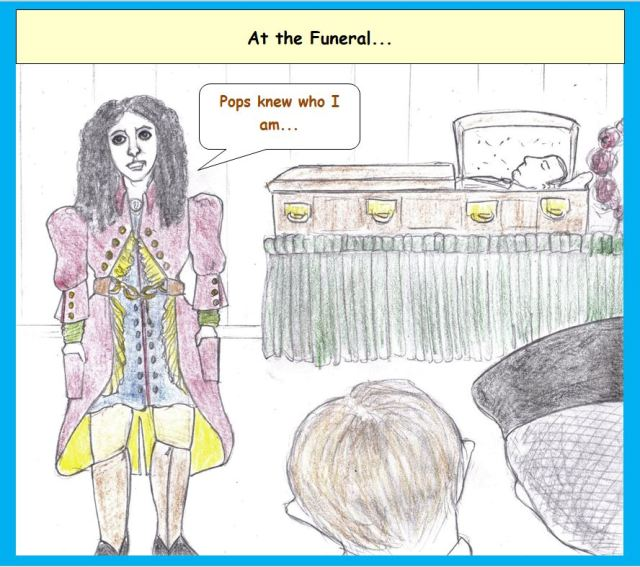 Cartoon of extravagant funeral dress