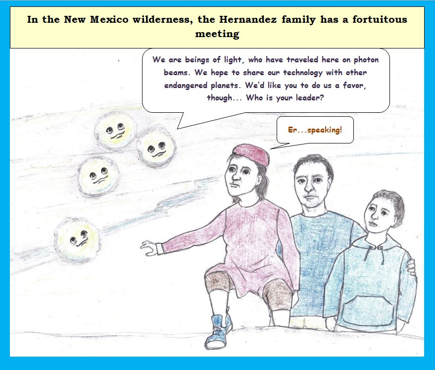 Cartoon of immigrant family meeting aliens