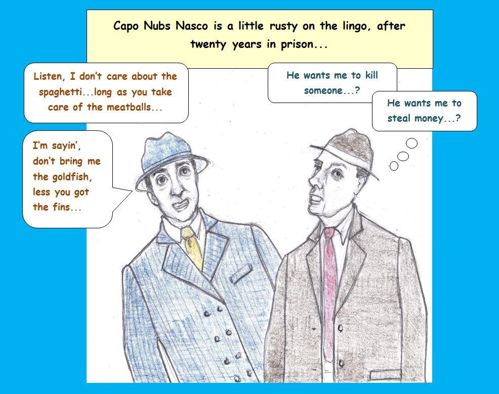 Cartoon of crime boss and goon