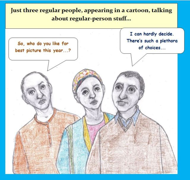 Cartoon of three people discussing Oscars