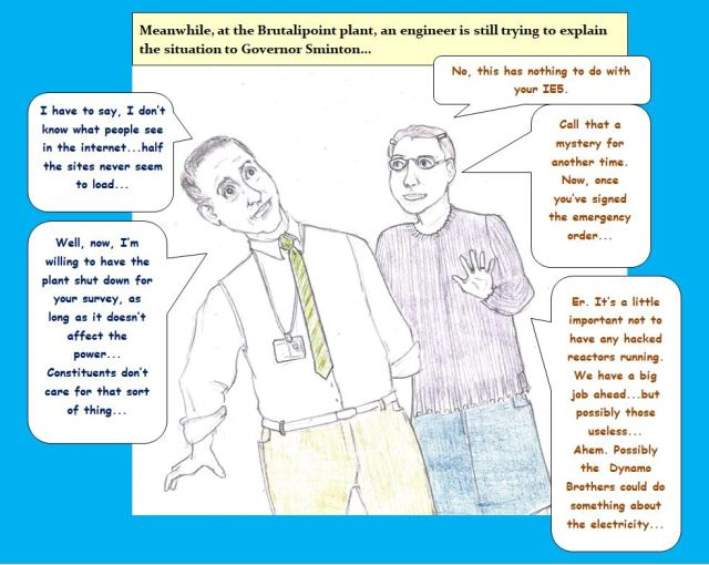 Cartoon of governor speaking to engineer