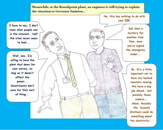 Cartoon of governor speaking to engineer