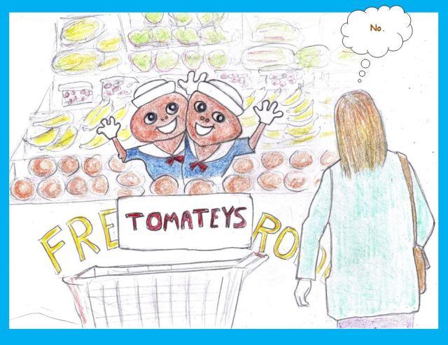 Cartoon of genetically engineered tomatoes