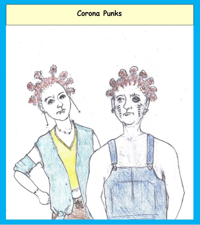 Cartoon of punks with coronavirus hair