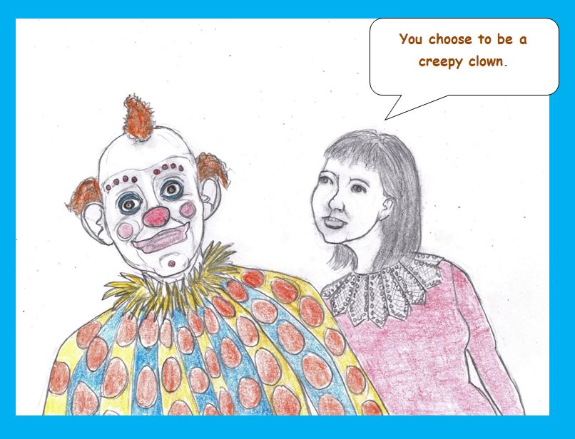 Cartoon of sad clown