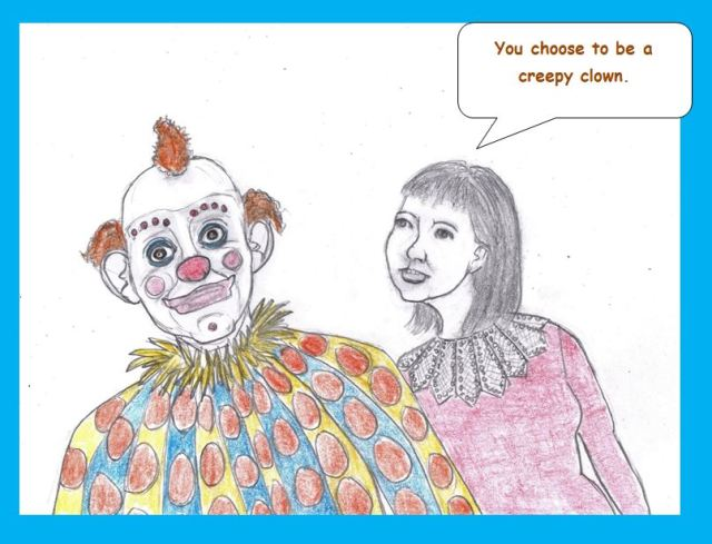 Cartoon of sad clown