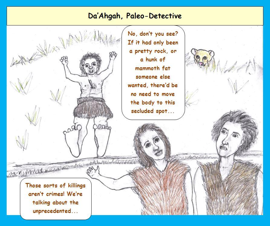 Cartoon of paleolithic murder