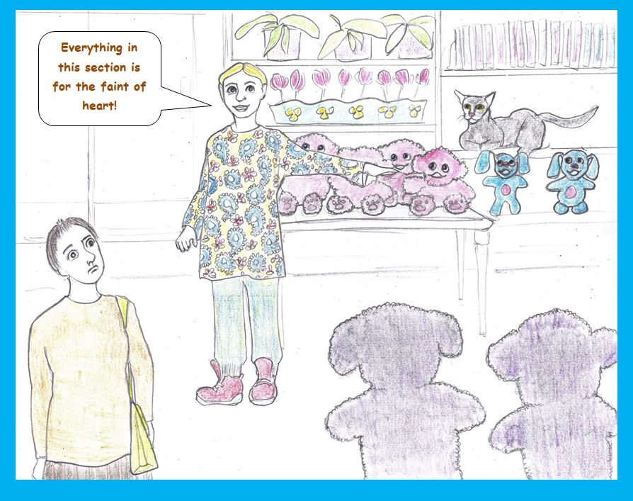 Cartoon of timid shopper
