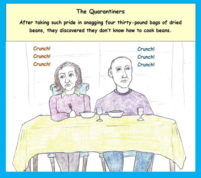 Cartoon of couple eating at table
