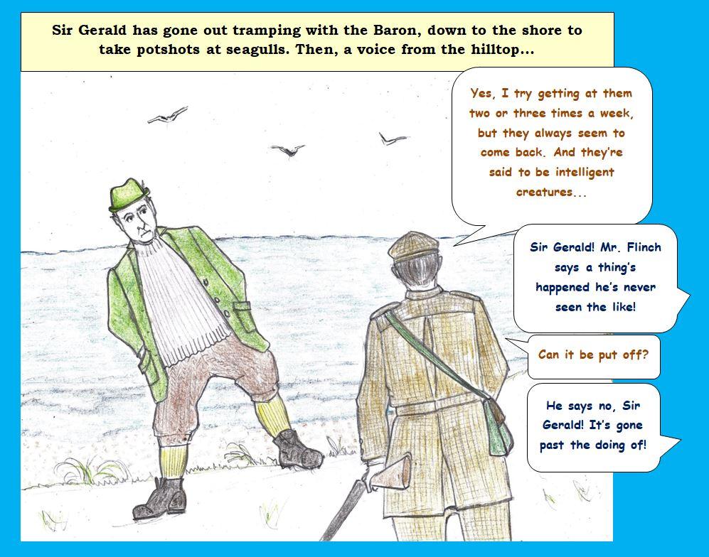 Cartoon of Edwardians shooting at seagulls