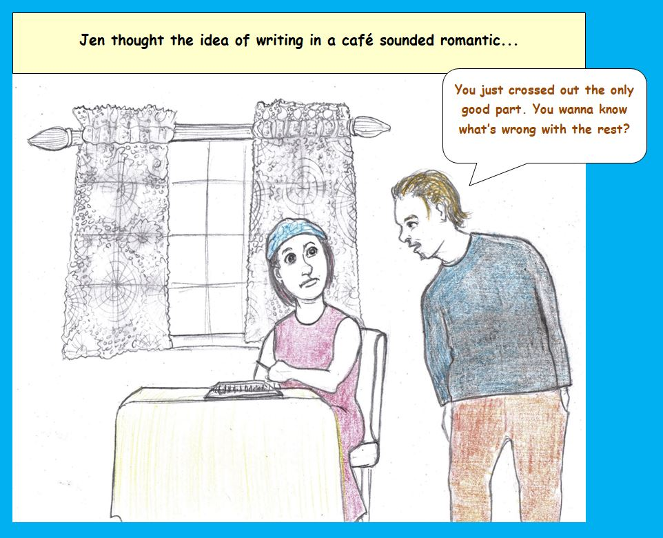 Cartoon of woman writing in cafe