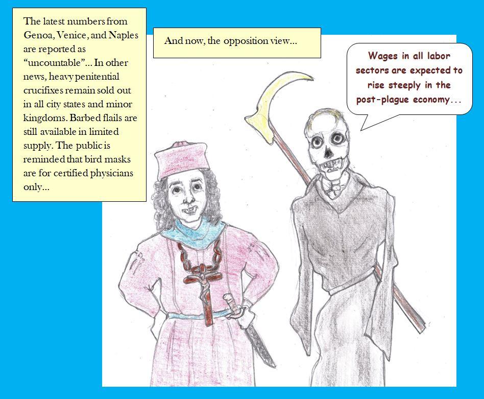 Cartoon of plague news