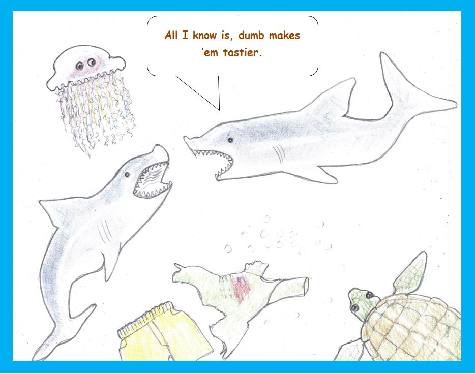 Cartoon of sharks and victim's clothes
