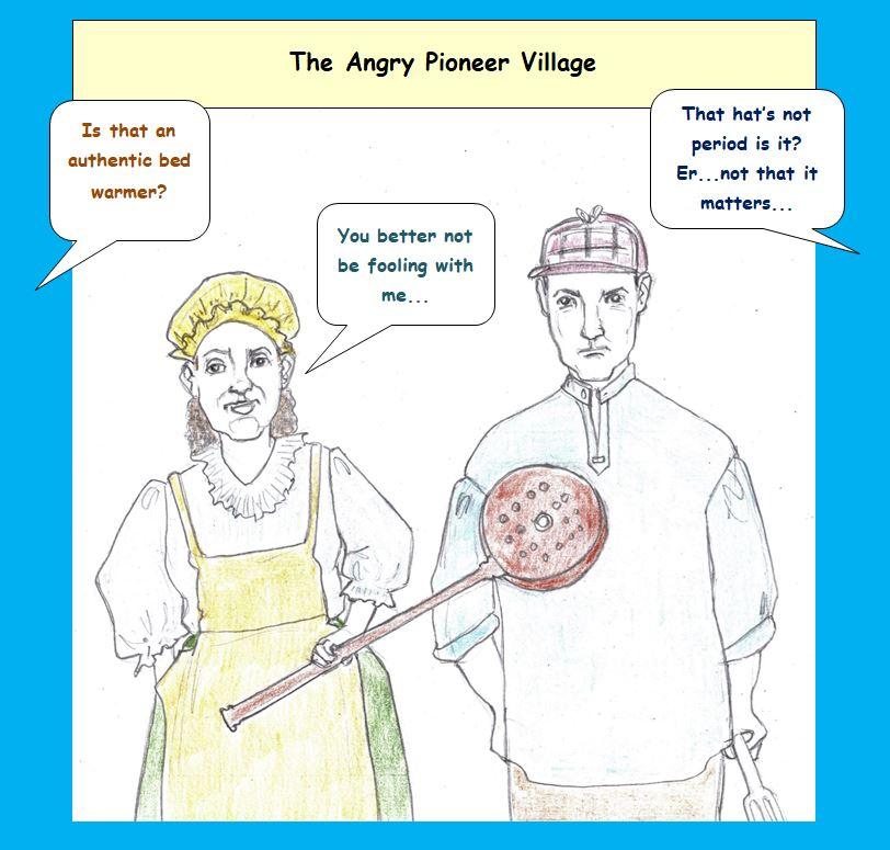 Cartoon of angry history reenactors