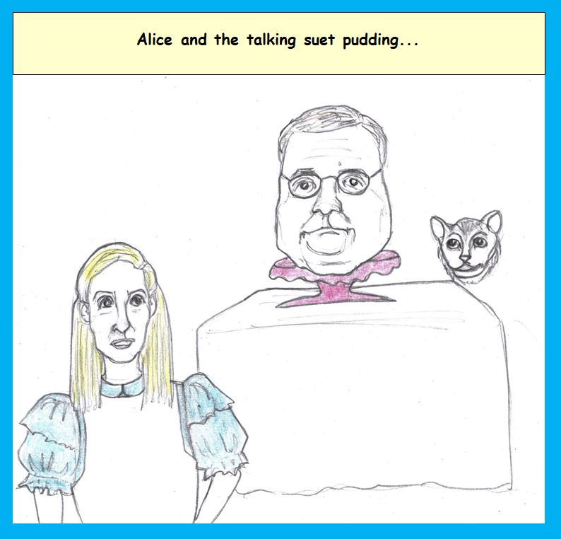 Cartoon of Nancy Pelosi as Alice and Bill Barr as a pudding