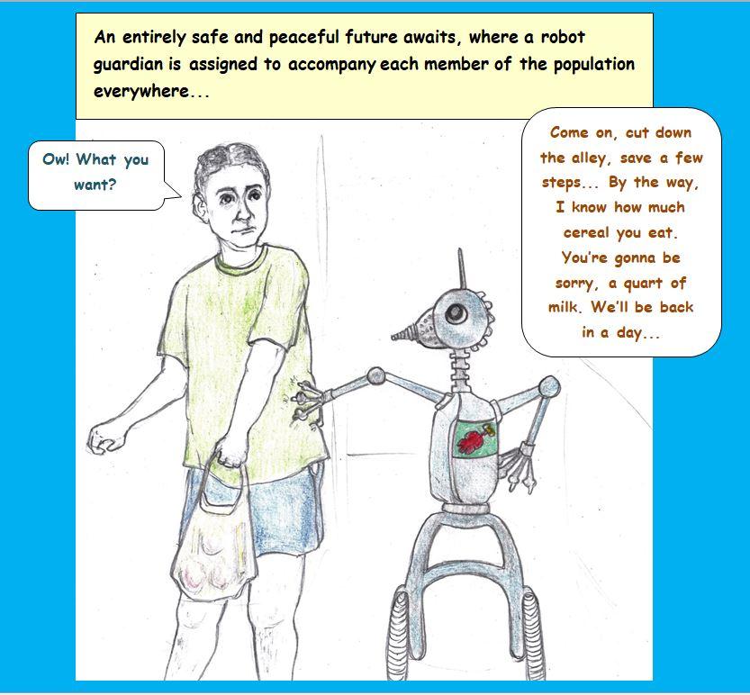 Cartoon of man walking with robot