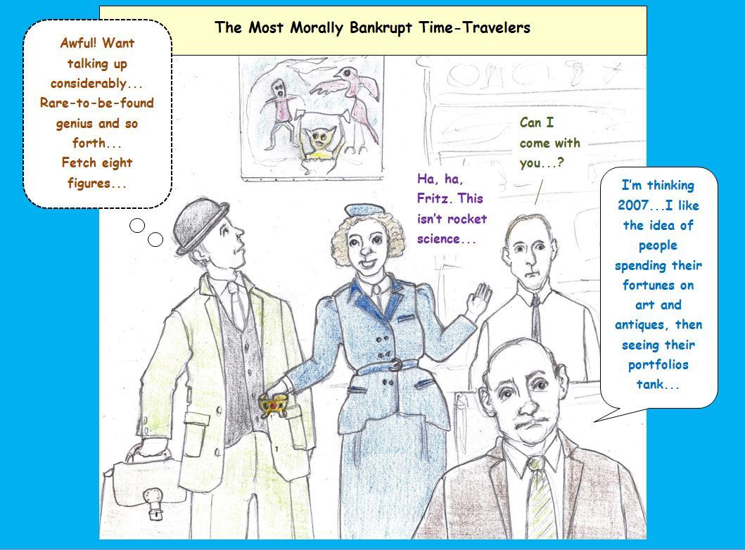 Cartoon of looting time travelers