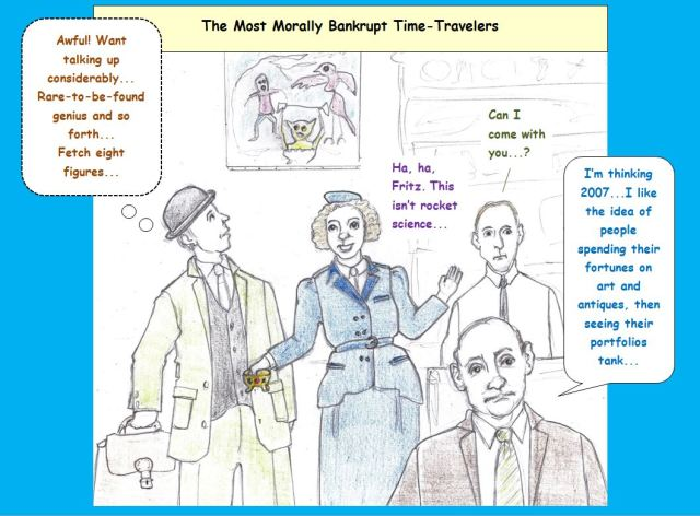 Cartoon of looting time travelers
