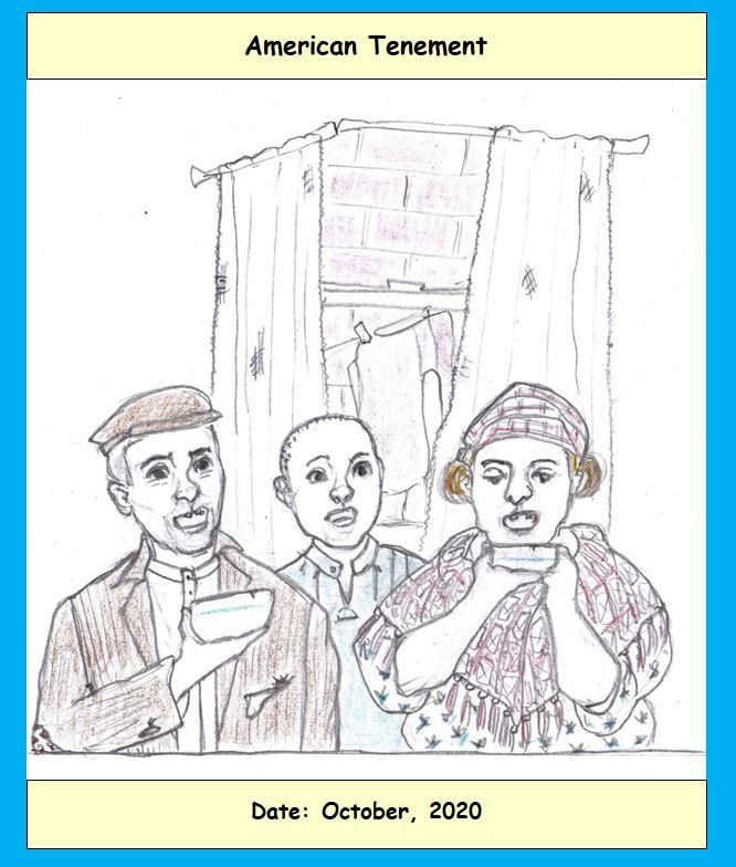 Cartoon of tenement dwellers
