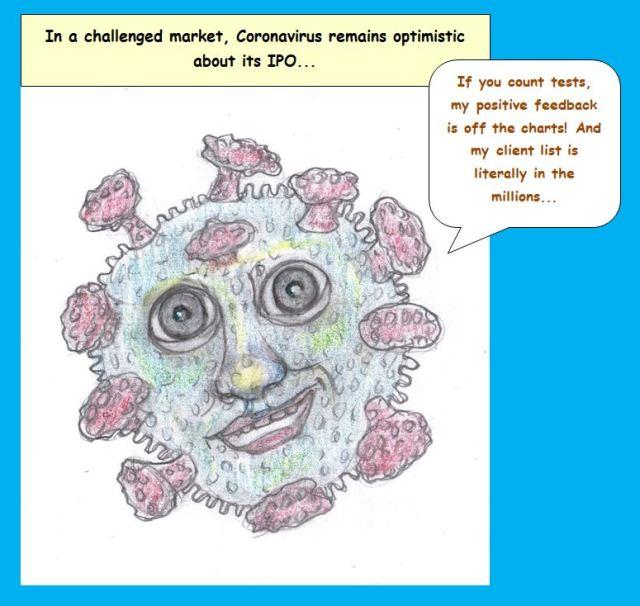 Cartoon of coronavirus personified