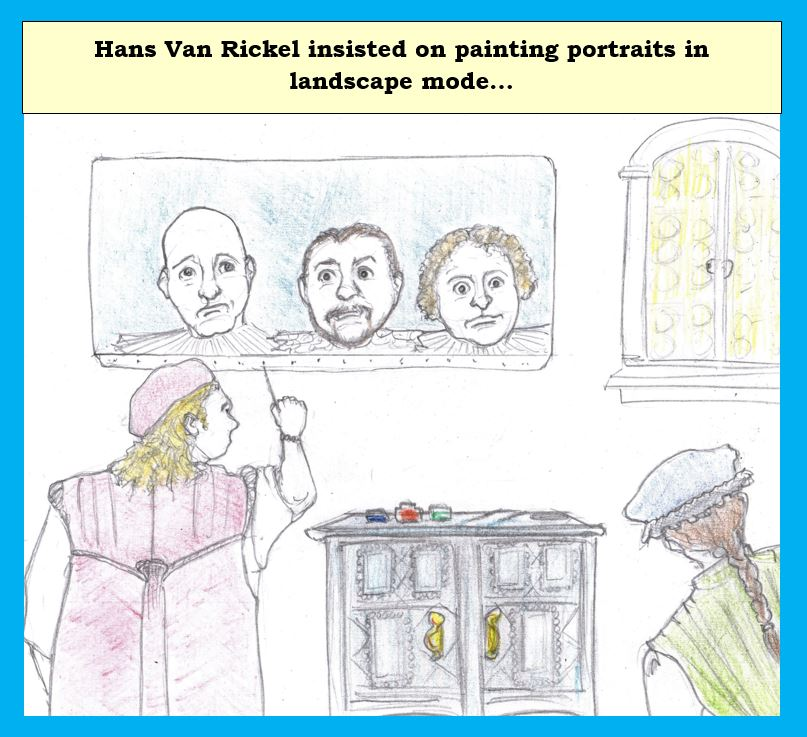 Cartoon of old master painter